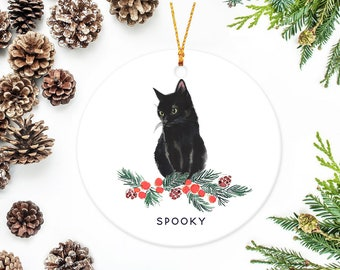 black cat ornament with berry branch - Black Cat Christmas Ornament