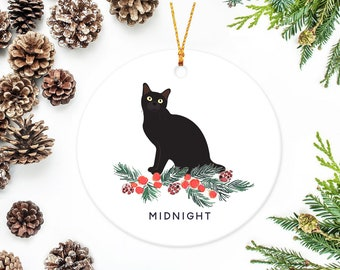 cat ornament personalized christmas ornament black cat custom cat ornaments