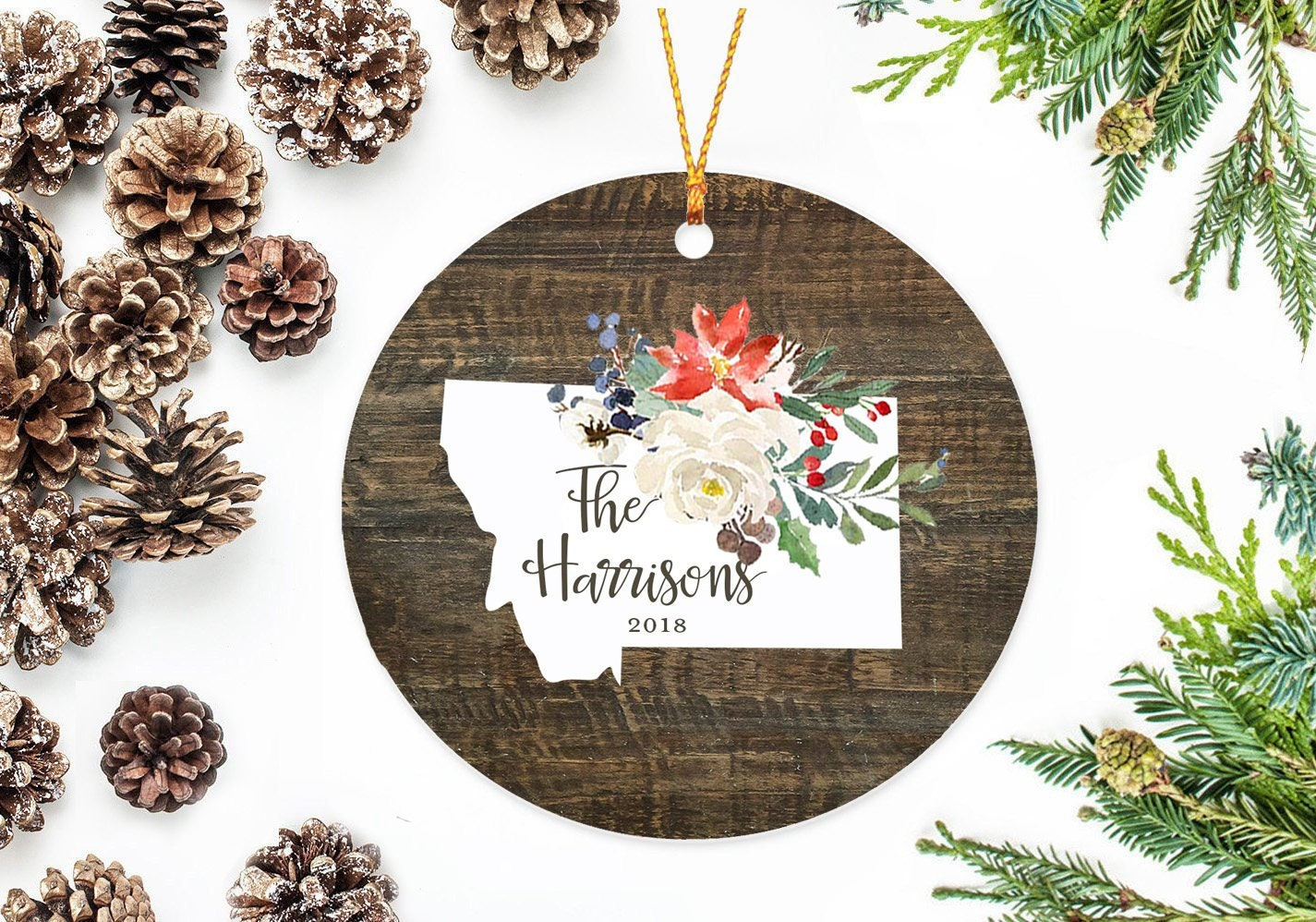 Montana State Christmas Ornament with Holiday Flowers   Etsy