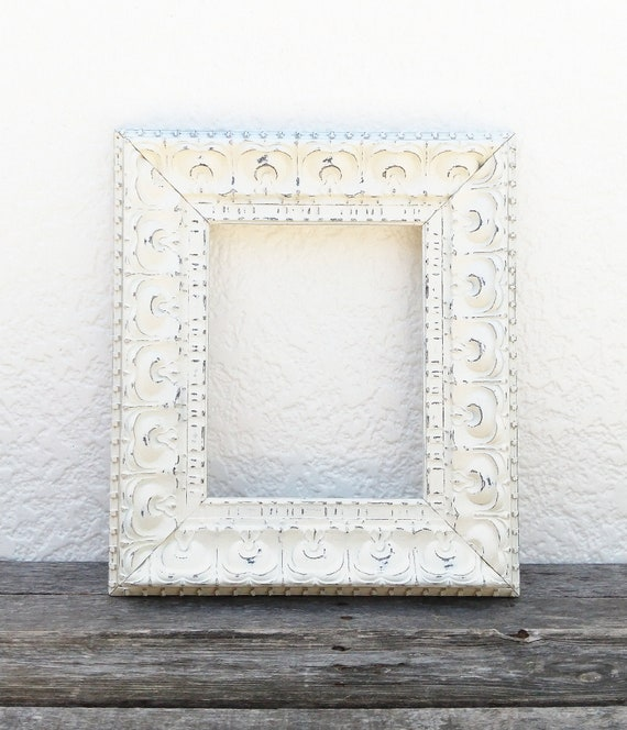 Ornate 8x10 Off White Frame Cream Distressed Picture Frame Etsy