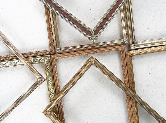 Set of FIVE, 8x10 Ornate Vintage Metal Frames, Gold Brass Table ...