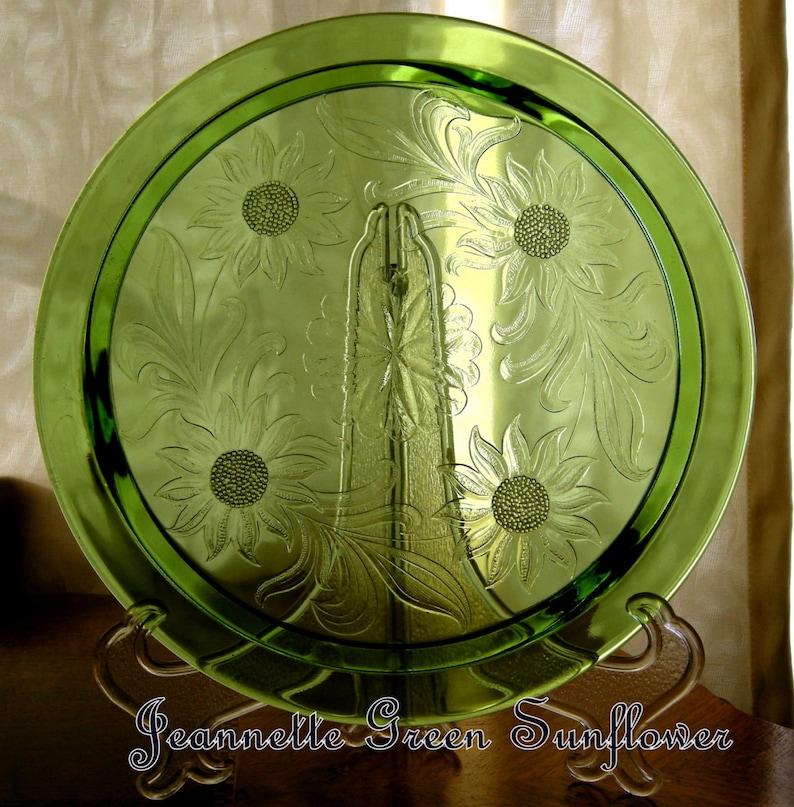 Jeannette Glass Co Green Sunflower Pattern Cake Plate