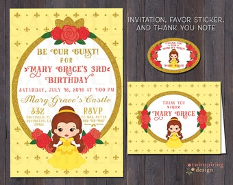 Wonder girl birthday party invitations thank you notes etsy belle birthday invitations thank you notes andor favor stickers beauty and the beast be our guest invitation suite stopboris Images