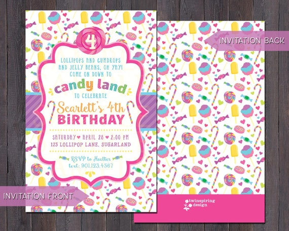 candy birthday party invitations and or thank you notes with etsy
