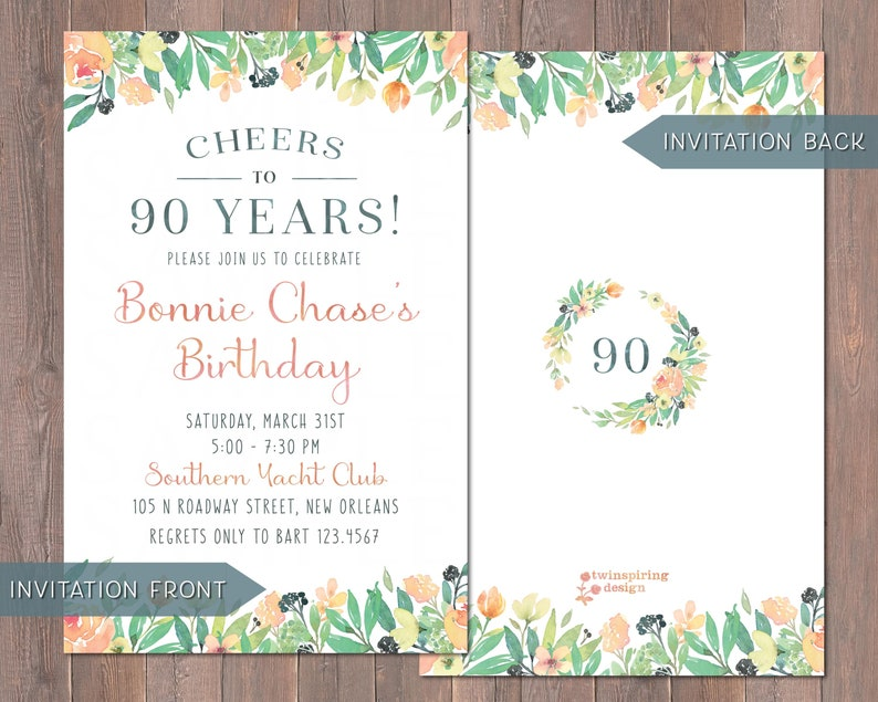 90th Birthday Invitations And Or Thank You Notes With