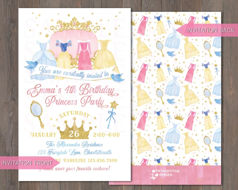 Princess Birthday Invitations Thank You Notes And Or Favor