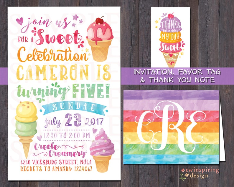 Rainbow Ice Cream Birthday Party Invitations Thank You Notes And Or Favor Tags
