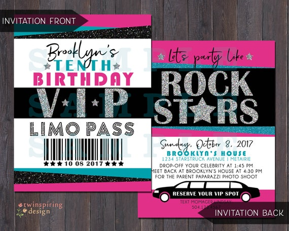Rock Star Vip Pass Limo Birthday Party Invitations Thank You Etsy