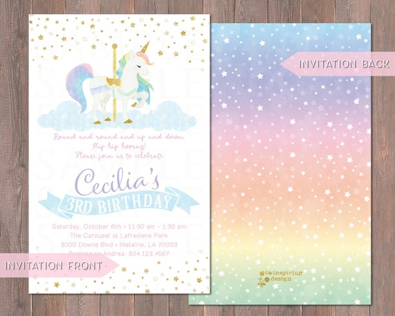 Rainbow Unicorn Carousel Birthday Invitations Thank You