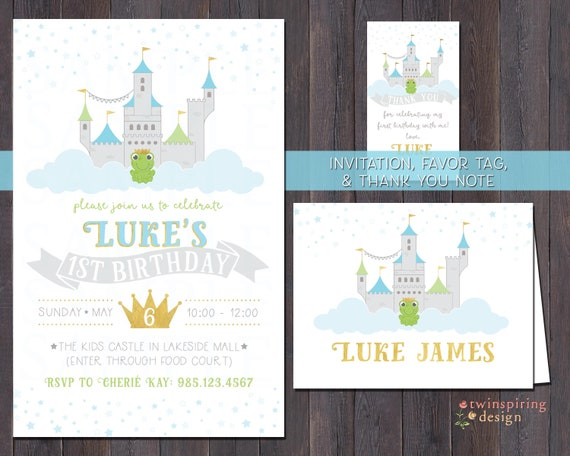 Frog prince castle birthday invitations thank you notes stopboris Images