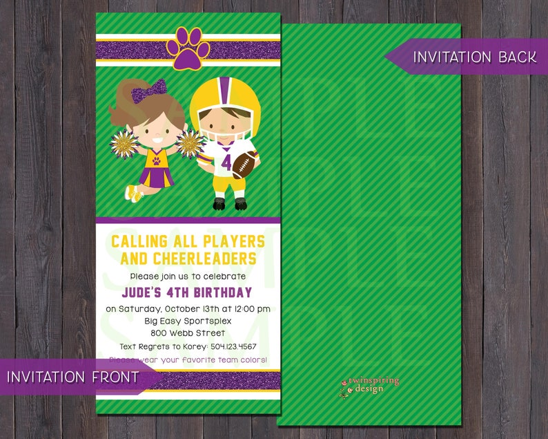 Football /& Cheerleader Invitation Saints or LSU Invitations with Envelopes Customizable for Any Team!