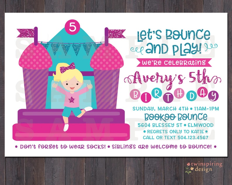 Bounce House Girl Birthday Invitations Thank You Notes