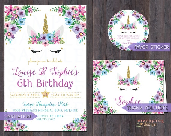 Unicorn Birthday Party Invitations Thank You Notes Favor