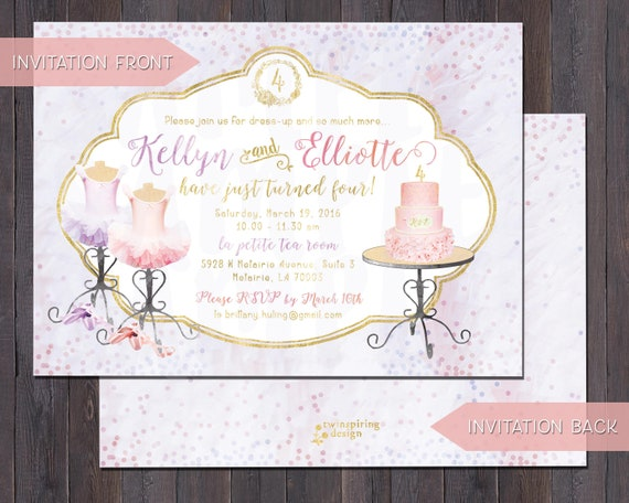 Ballet Birthday Invitations And Or Thank You Notes For Twins