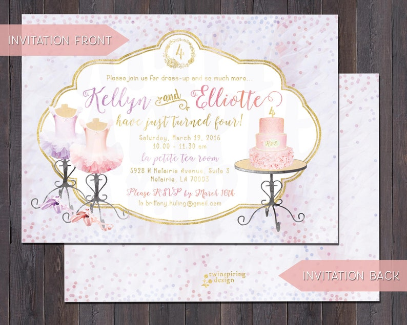 Ballet Birthday Invitations And Or Thank You Notes For Twins Sisters Best Friends
