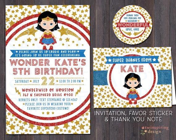 Wonder girl birthday party invitations thank you notes filmwisefo