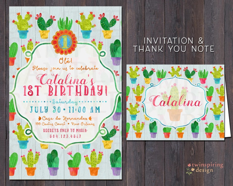 Cactus Fiesta Birthday Invitations And Or Thank You Notes With Envelopes