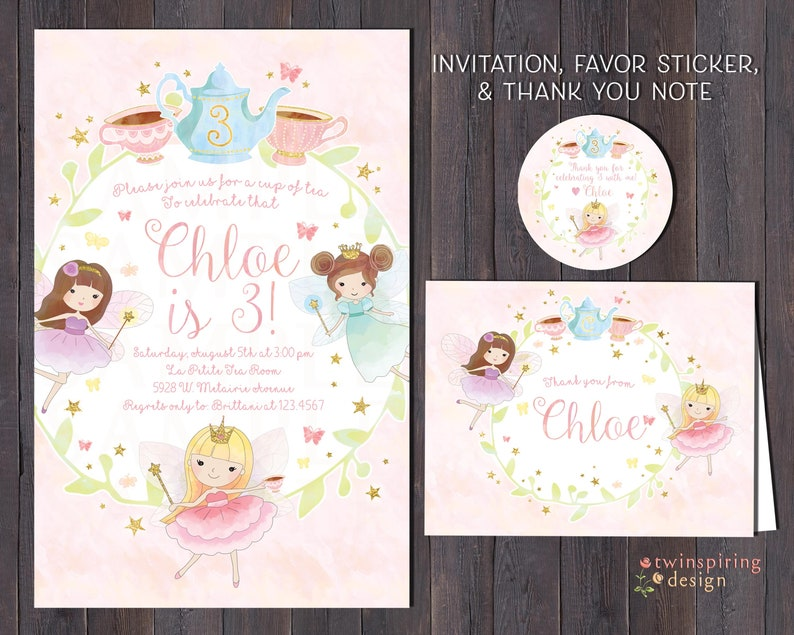 Fairy Tea Party Birthday Invitations Thank You Notes And Or