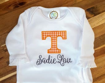 9a8dafc25 Tennessee Vols Baby - UT Game Day Bodysuit Gown or Tee - Vols Baby Gift -  Tennessee Game Day Baby Gift - UT Baby Gift - Vols going home gown