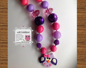 Purple Owl Girl Necklace- Owl Necklace-Chunky-Bubble Gum Necklace-owl necklace-purpe owl