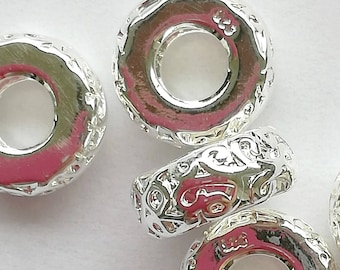 Spacer Bead 11 mm chased design - silver