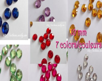 Round multi facets Half bead cabochons strass - 10 mm - 7 colors available