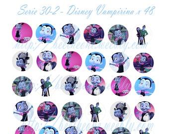 Digital Collage Disney Vampirina 48 images x 1 inch Cabochon Bottlecap Magnet Printable Image clipart Download