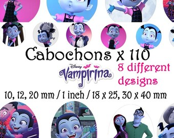 Digital Collage Disney Vampirina 2 Sheets (A4) 110 images 1 inch, 10 => 20 mm + ovale Cabochon Bottlecap Printable Image clipart Download