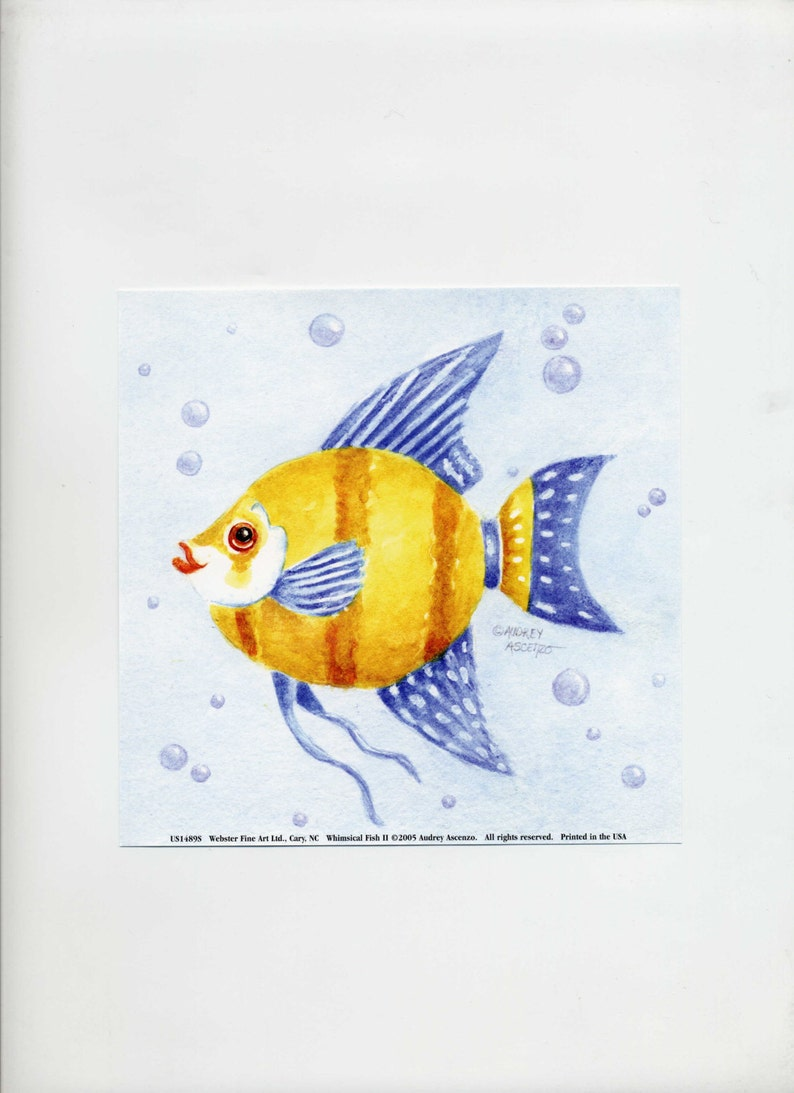 Fun Fish Art Print Whimsical Watercolor Angel Fish Open Edition Signed Art  Print 6 x 6 by Audrey Ascenzo