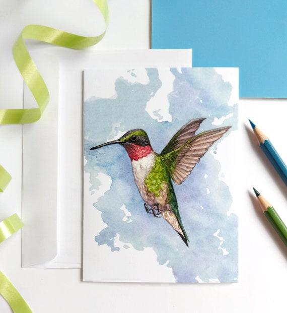Blank Inside Greeting Card A Hummingbird/'s Pink Dream