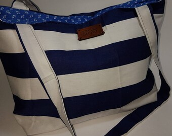 Striped nautical tote/summer/gifts for her/travel/navy and white