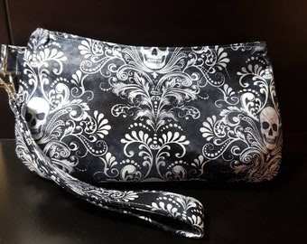 Skull damask wristlet clutch/wallet/cosmetics/makeup bag/night out/pencil case