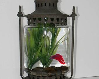 Charming Archaic Lantern Style Aquarium. Ideal for Goldfish, Bettas, Small Aquatic Plants. Tall Glass Flask. Apprx 1 Gal. Unique Fish Bowl.