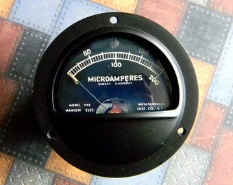 Fully Functional Vintage Microamperes Ammeter Gauge Mfg. By Marion Electric. Tested. Like-New Appearance. Model H52. DC Microamps 0 - 200.