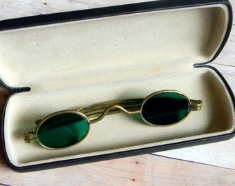 6b4c3463f35a Stunning Antique Victorian American Civil War Era Evergreen Tinted Oval  Lens Sunglasses w Brass Frame. Very Rare   Hallmarked. Good w Wear.