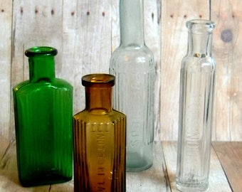 Pick Your Poison! A Collection of 4 Different Antique Poison Bottles. Offered Individually or as a Discounted Set. Very Curious Containers!
