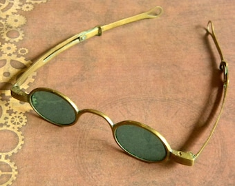 37ffb39298da Authentic Victorian   Civil War Era Antique Sunglasses. Juniper Green  Tinted Low Profile Oval Lenses with Brass Frame. Very Good Condition.
