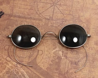 27a51dbf3d498 Authentic Antique Smoke Tinted Oval Glass Lens Sunglasses w Silver Tone  Metal Frame. Good Condition w Case. Late 1800 s to Early 1900 s.