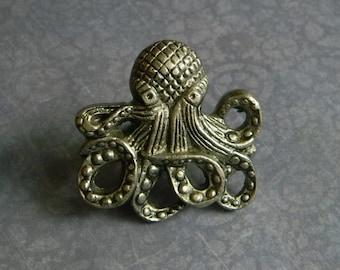 Cast Iron Octopus Knob - Kraken Door Knob - Cast Octopus Cabinet Knob or Drawer Knob for Bureau - Nautical Style Knob