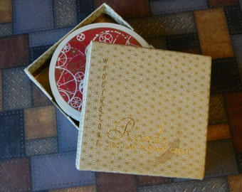 Retro Red Round Playing Cards, Steampunk Style from the 60's or 70's - Vintage Cards Full Deck