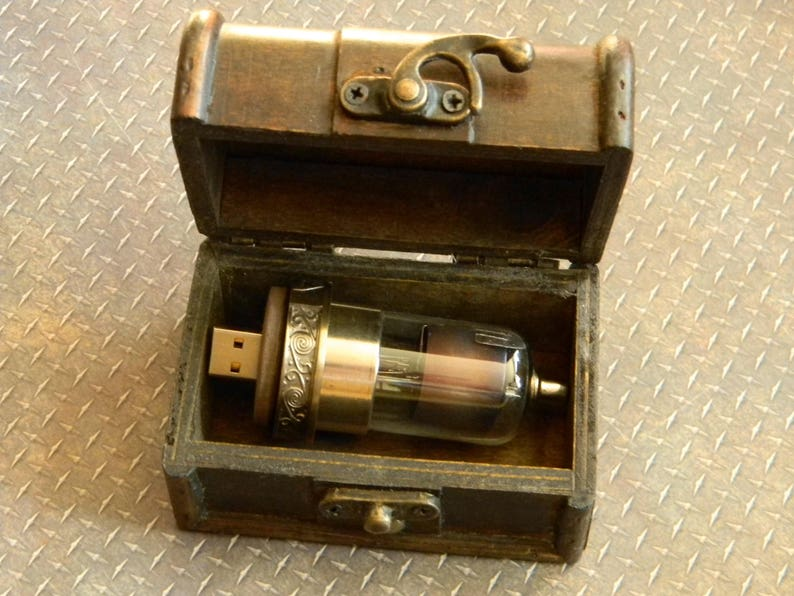Illuminated 64GB USB 2.0 Flash Drive Built Into GR8 Condition Radio Vacuum Tube Cool Blue Antique Radio Tube Upcycled Steampunk Flash Drive