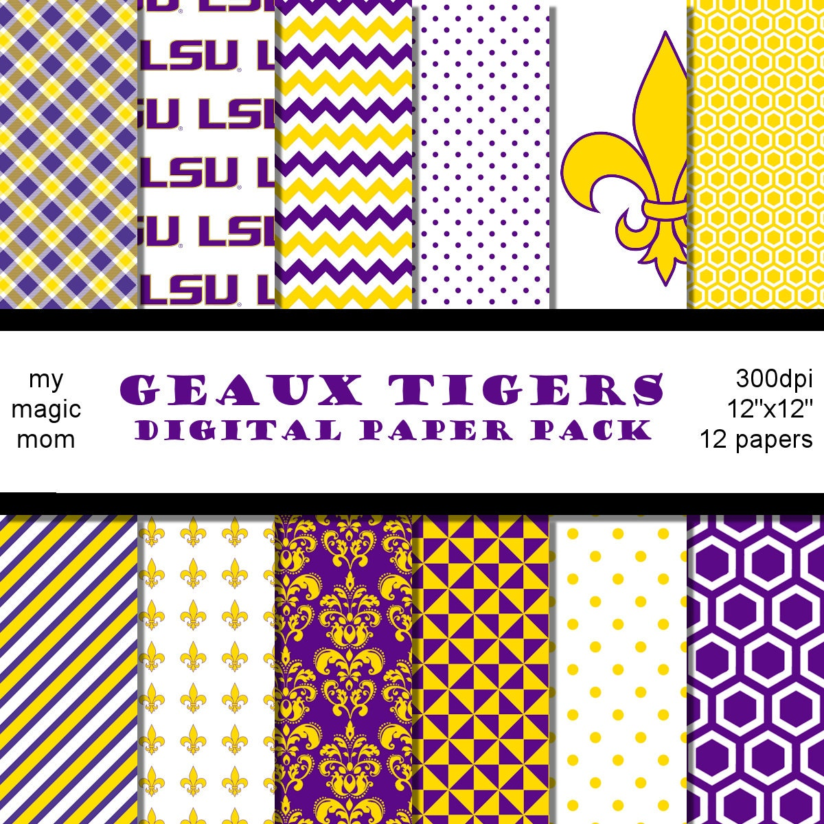 Lsu Tigers Football Scrapbook Paper Pack 12 Inch Pages Purple Etsy