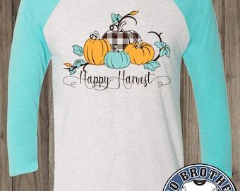 Happy Harvest Fall Design  3/4 sleeve Shirts