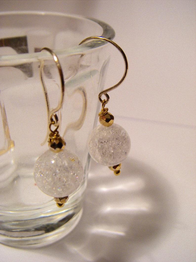 Earring Mountain Crystal round broken gold pyrite