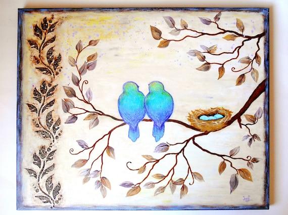 Love Birds Original Painting Birds Wall Art Nest Art 16 X 20 Wedding Gift Kids Room Art Unique Gifts Original Gifts Birds Canvas Art