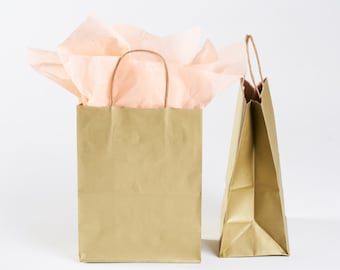 25 Metallic Gold Gift Bags with Handles