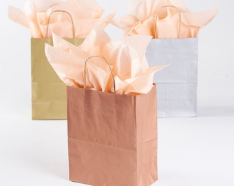 20 Metallic Rose Gold Gift Bags with Handles - size Rose or Cub