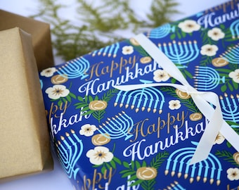 Hanukkah Wrapping Paper | Hanukah Gift Wrap Paper 10 ft Jumbo Roll | Menorah Wrapping Paper | Happy Hanukah Paper | Blue Wrapping Paper Roll