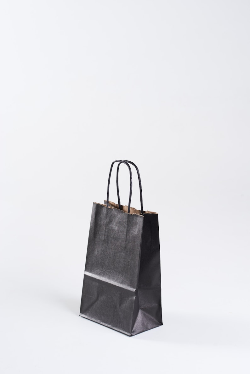 25 Black Paper Gift Bags With Handles Kraft Interior Size Etsy