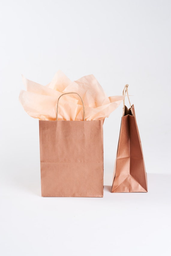 50 Rose Gold Gift Bags With Handles For Wedding Guests Etsy